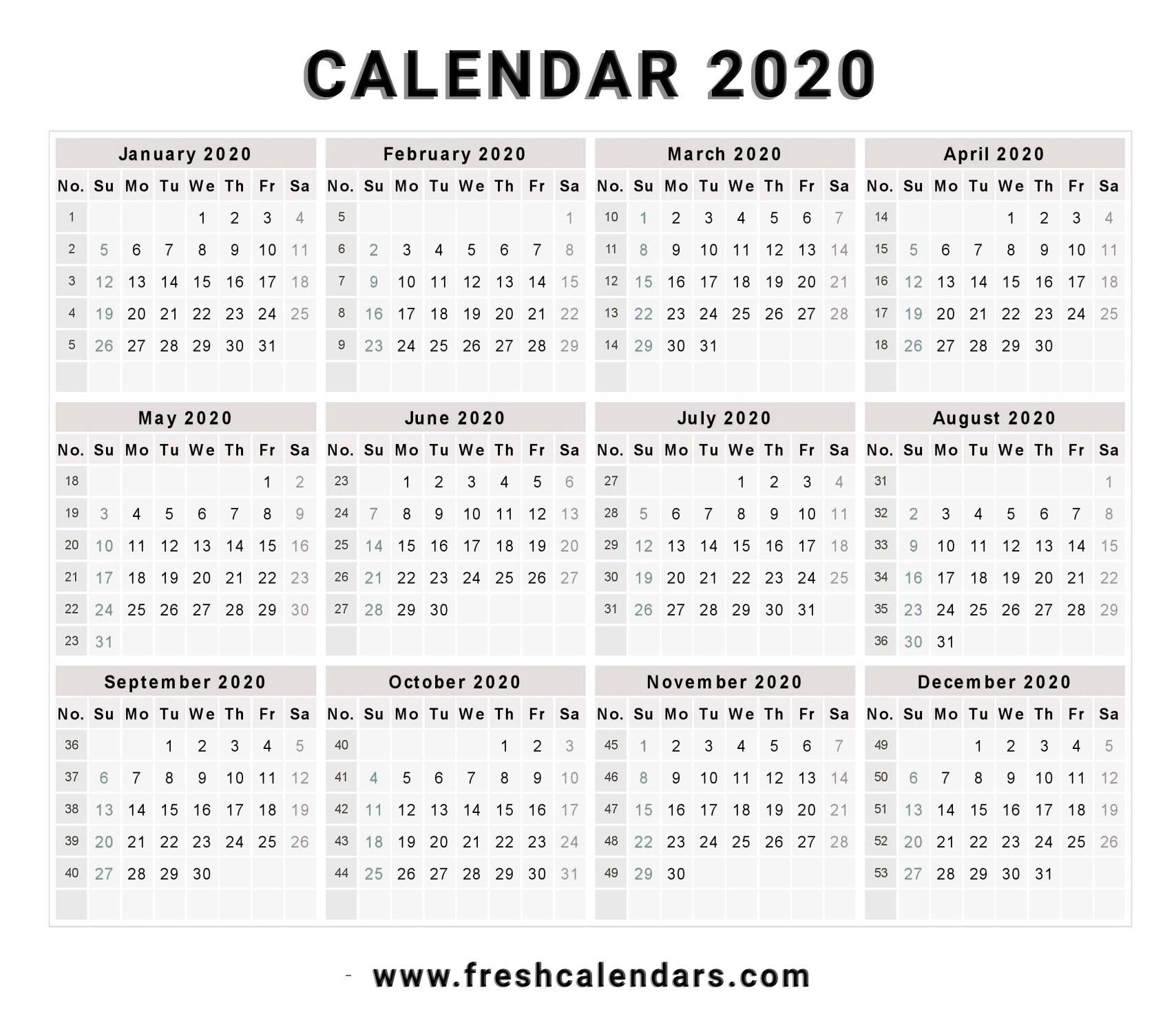 2020 Calendar-Microsoft Calendar Templates 2020