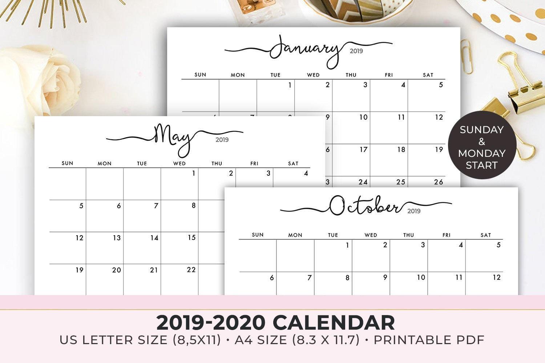 2020 Calendar Printable , 2019-2020 Calendar Template , Monthly Calendar,  2019 Monthly Planner , Instant Download-Printable 2020 Blank Calendar On 8 X 11 Size