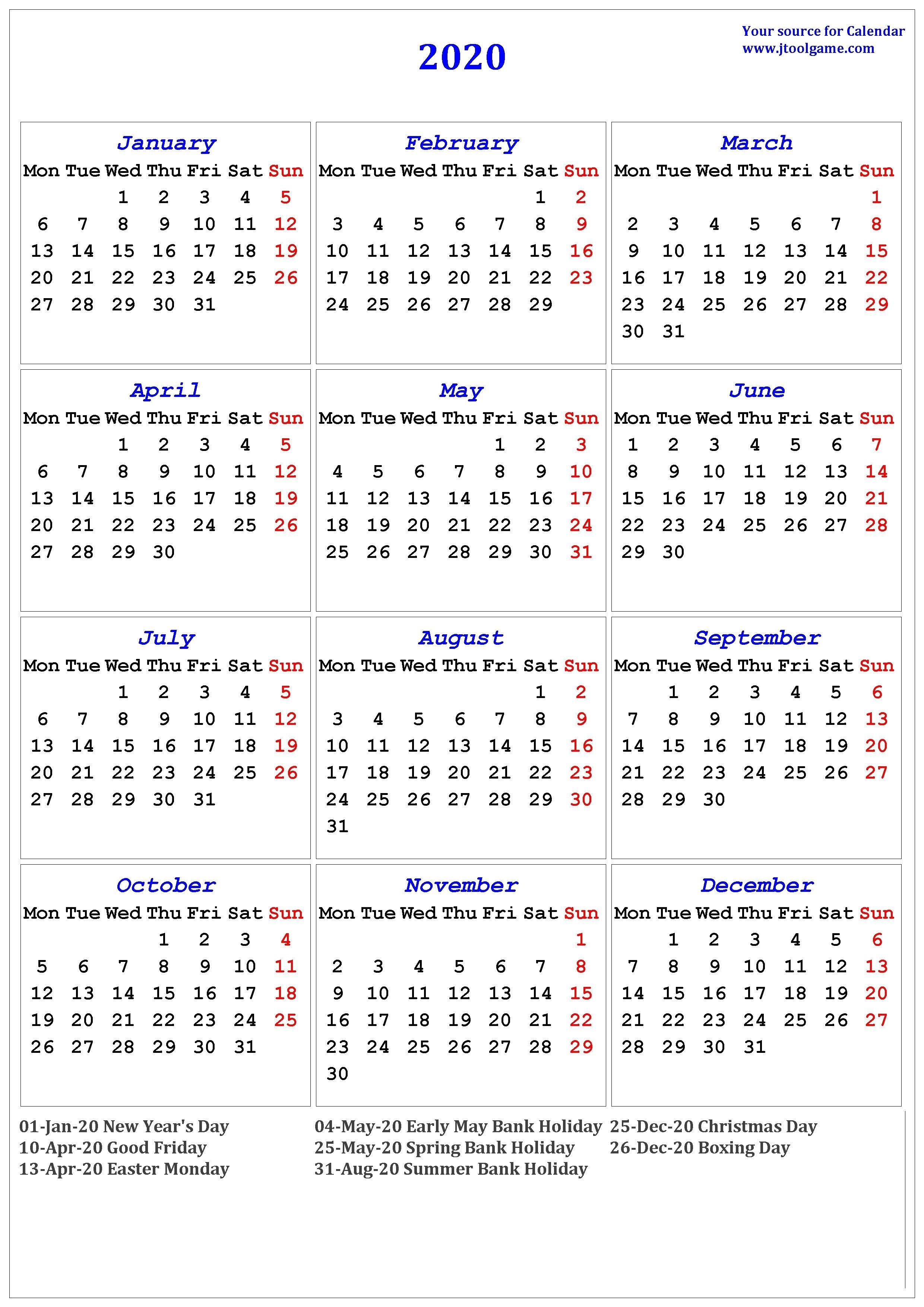 2020 Calendar - Printable Calendar. 2020 Calendar In-2020 Holidays Printable List