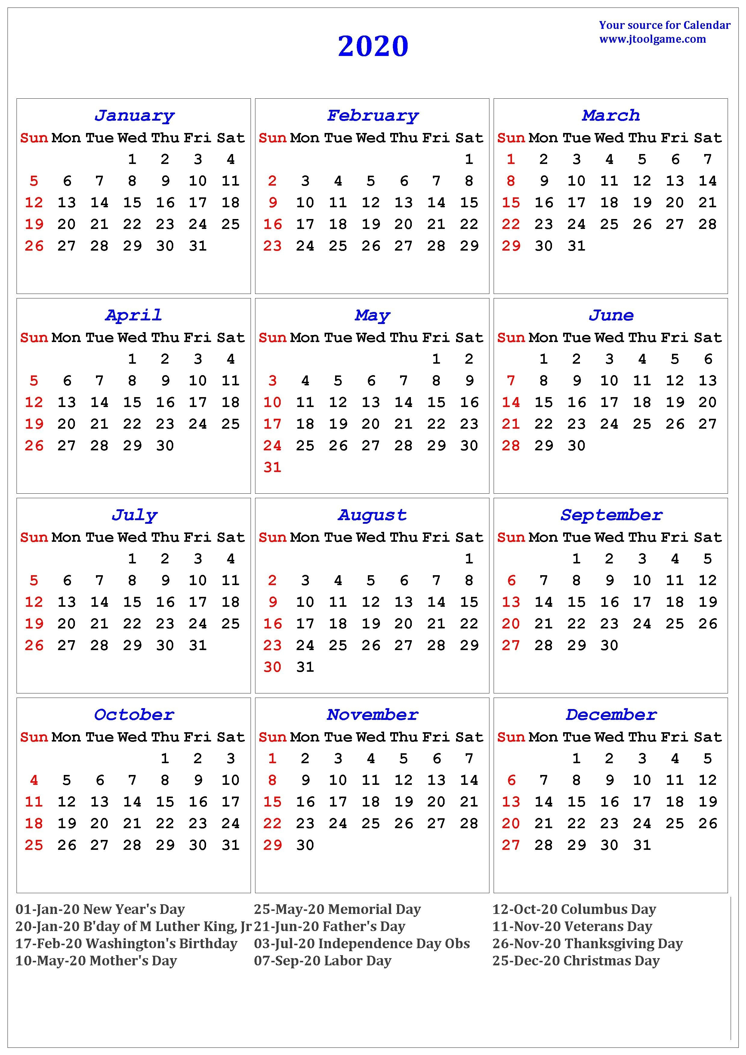 2020 Calendar - Printable Calendar. 2020 Calendar In-January 2020 Ka Calendar