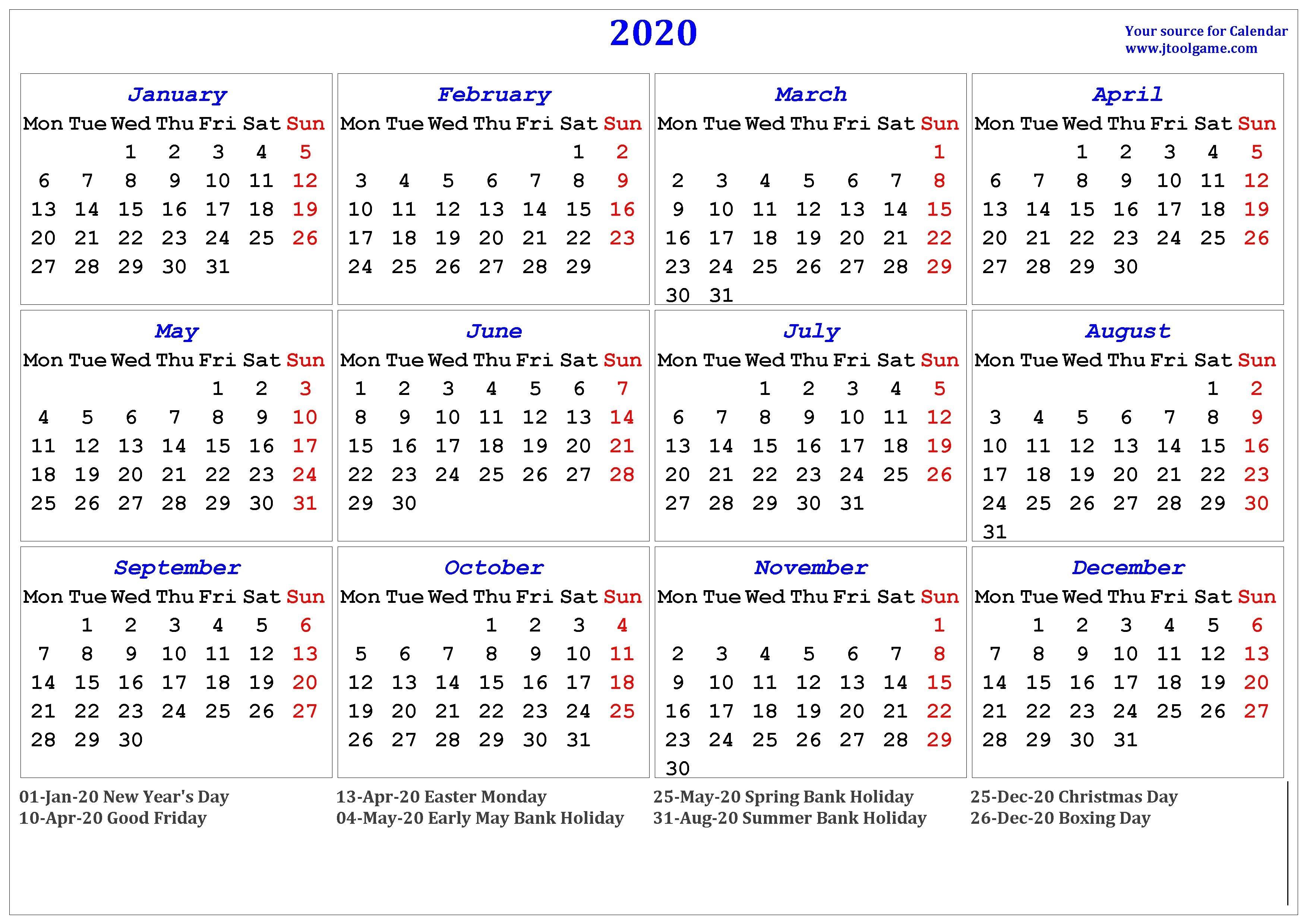 2020 Calendar - Printable Calendar. 2020 Calendar In-Printable 2020 Holidays India