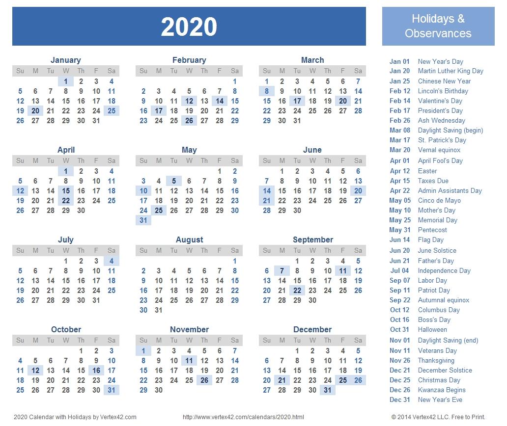 2020 Calendar Prints For Planning! | Planner | Calendar 2018-2020 Holidays Printable List