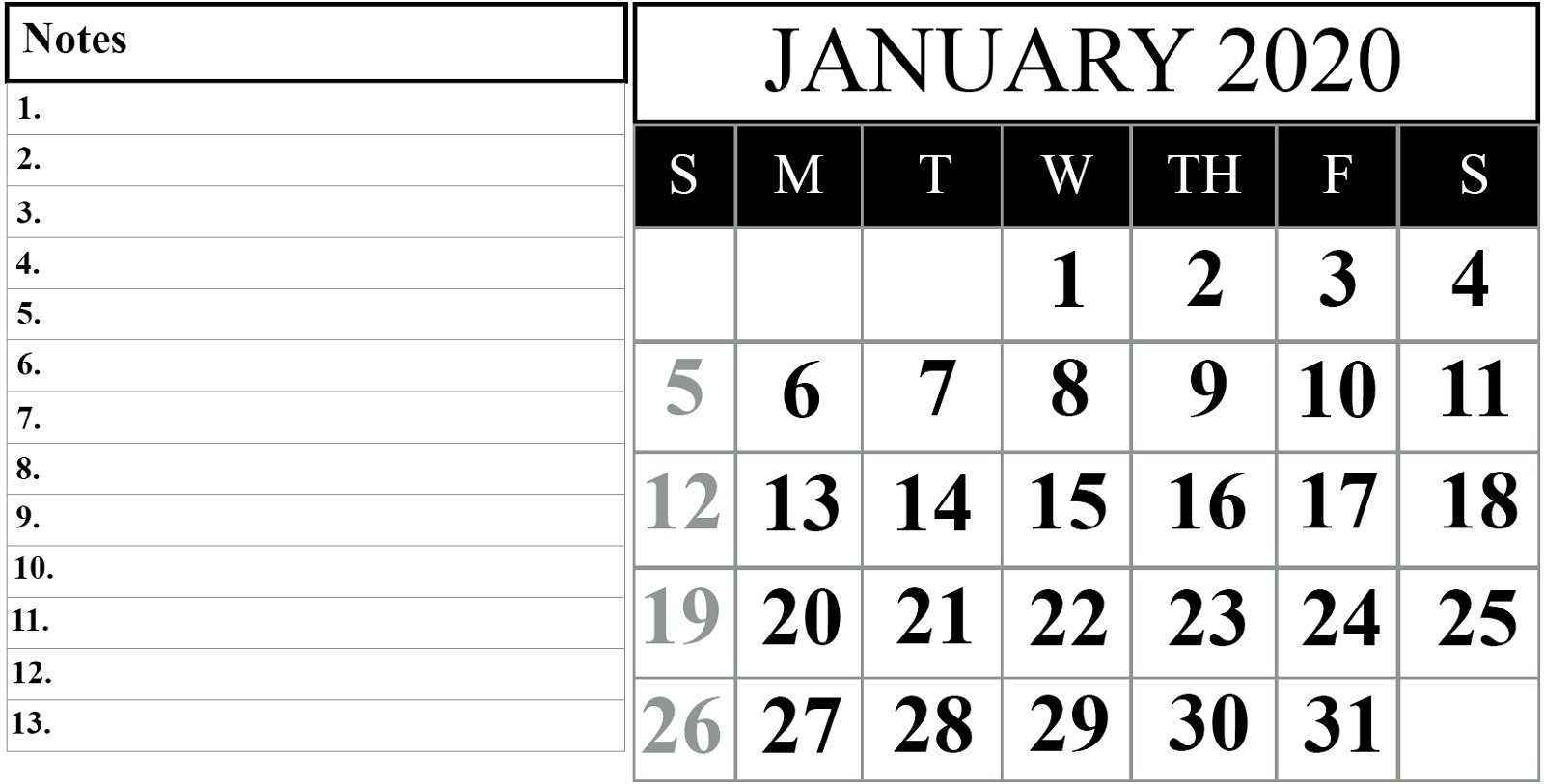 2020 Calendar Template For Kids Big Fonts | Calendar Shelter-January 2020 Calendar Waterproof