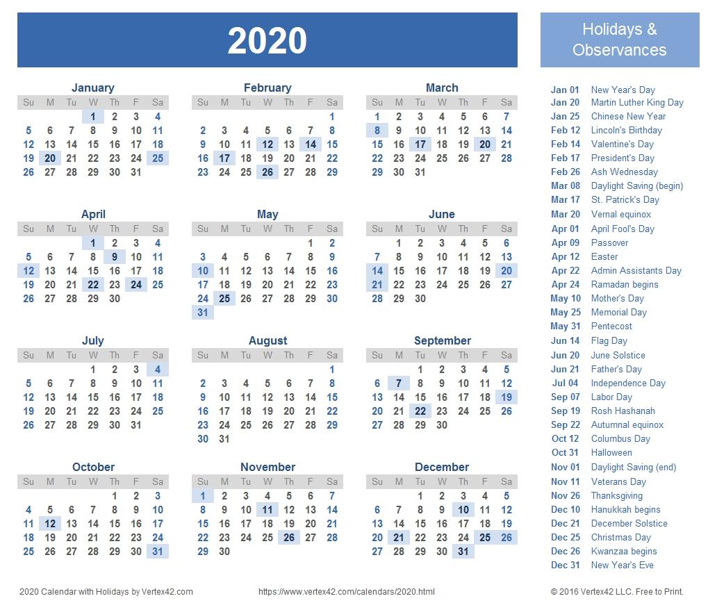 2020 Calendar Templates And Images-2020 Calendare With Holidays By Vertex42.com