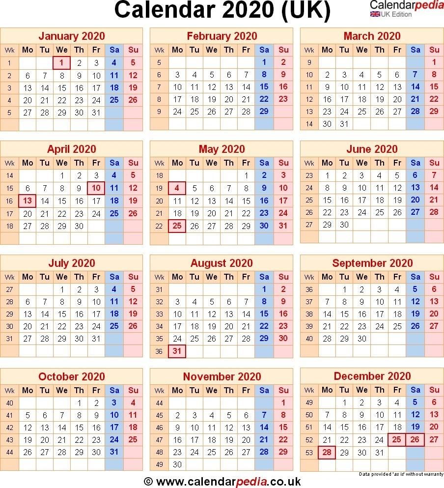 2020 Calendar Uk – Printable Year Calendar-Calendar 2020 Printable With Bank Holidays