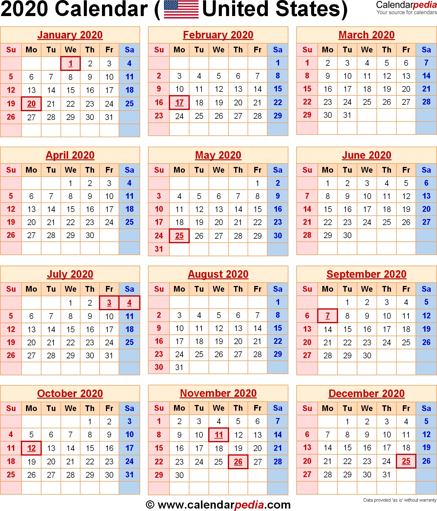 2020 Calendar With Federal Holidays & Excel/pdf/word Templates-Calendar 2020 With Us Holidays Printable