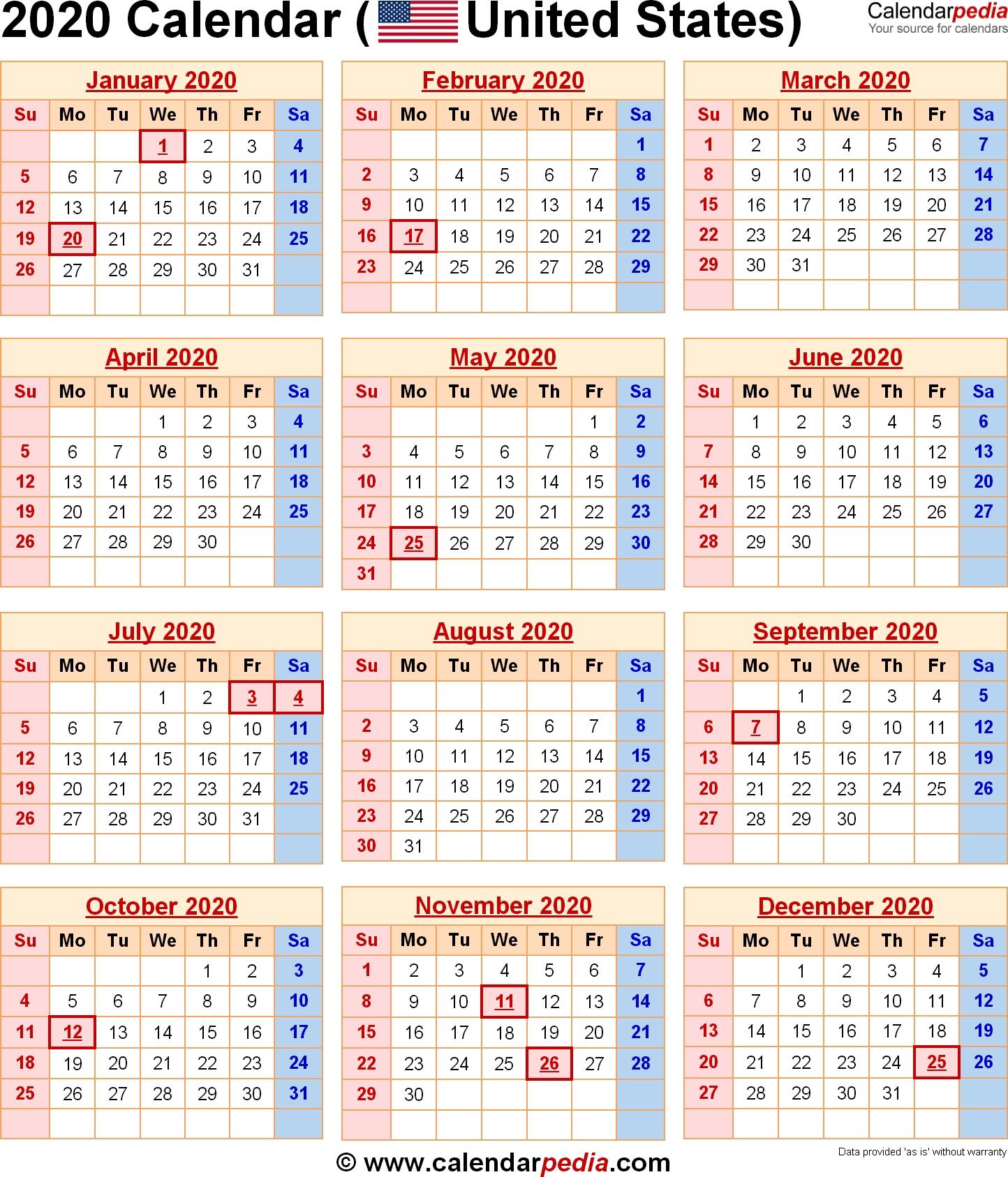 2020 Calendar With Federal Holidays & Excel/pdf/word Templates-Printable Usa 2020 Calendar With Holidays