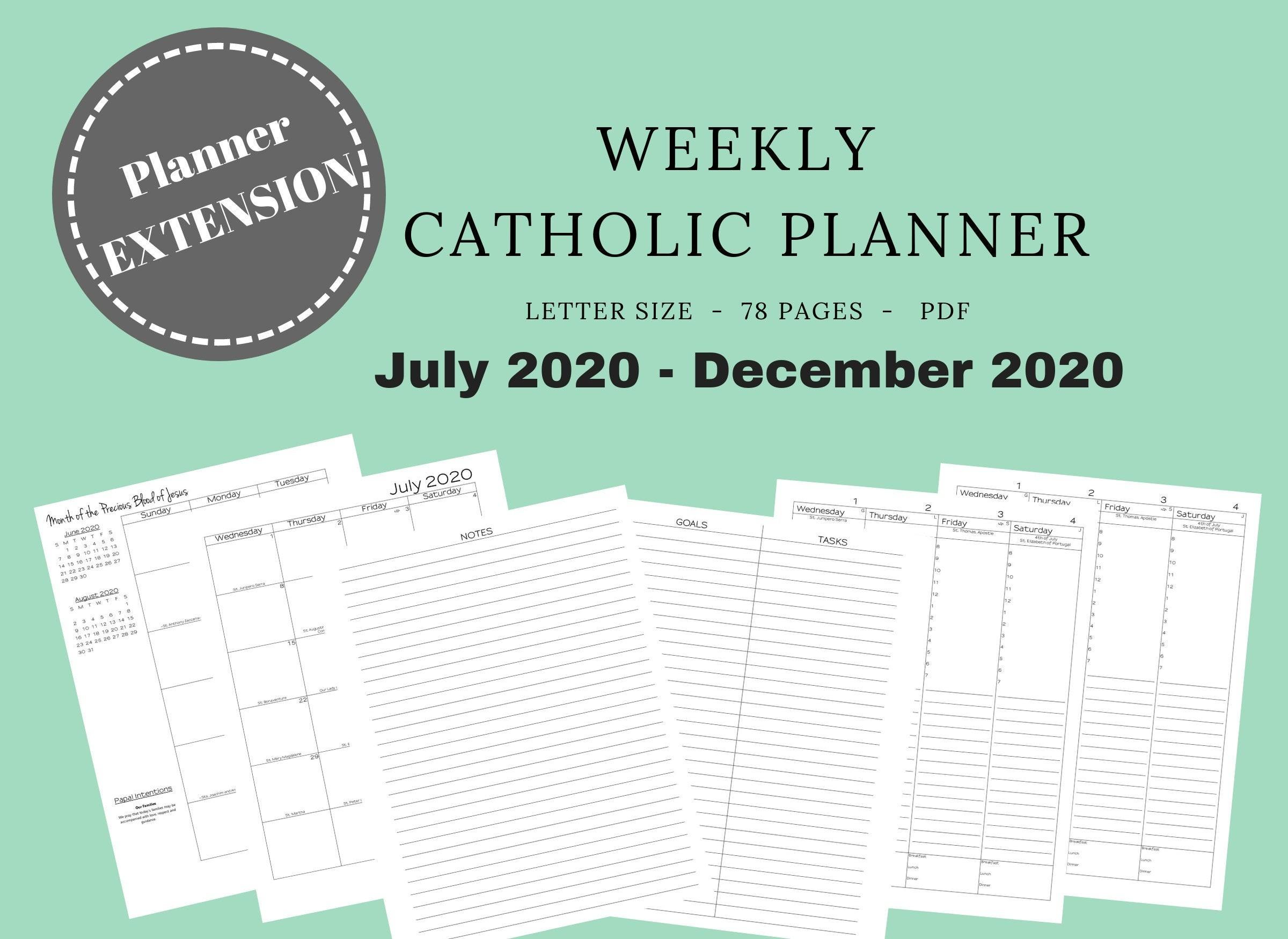 2020 Catholic Planner *extension* Weekly Printable: Daily Planner / Weekly  Calendar / Liturgical Planner / Printable Catholic Planner-2020 Catholic Monthly Calendar Printable