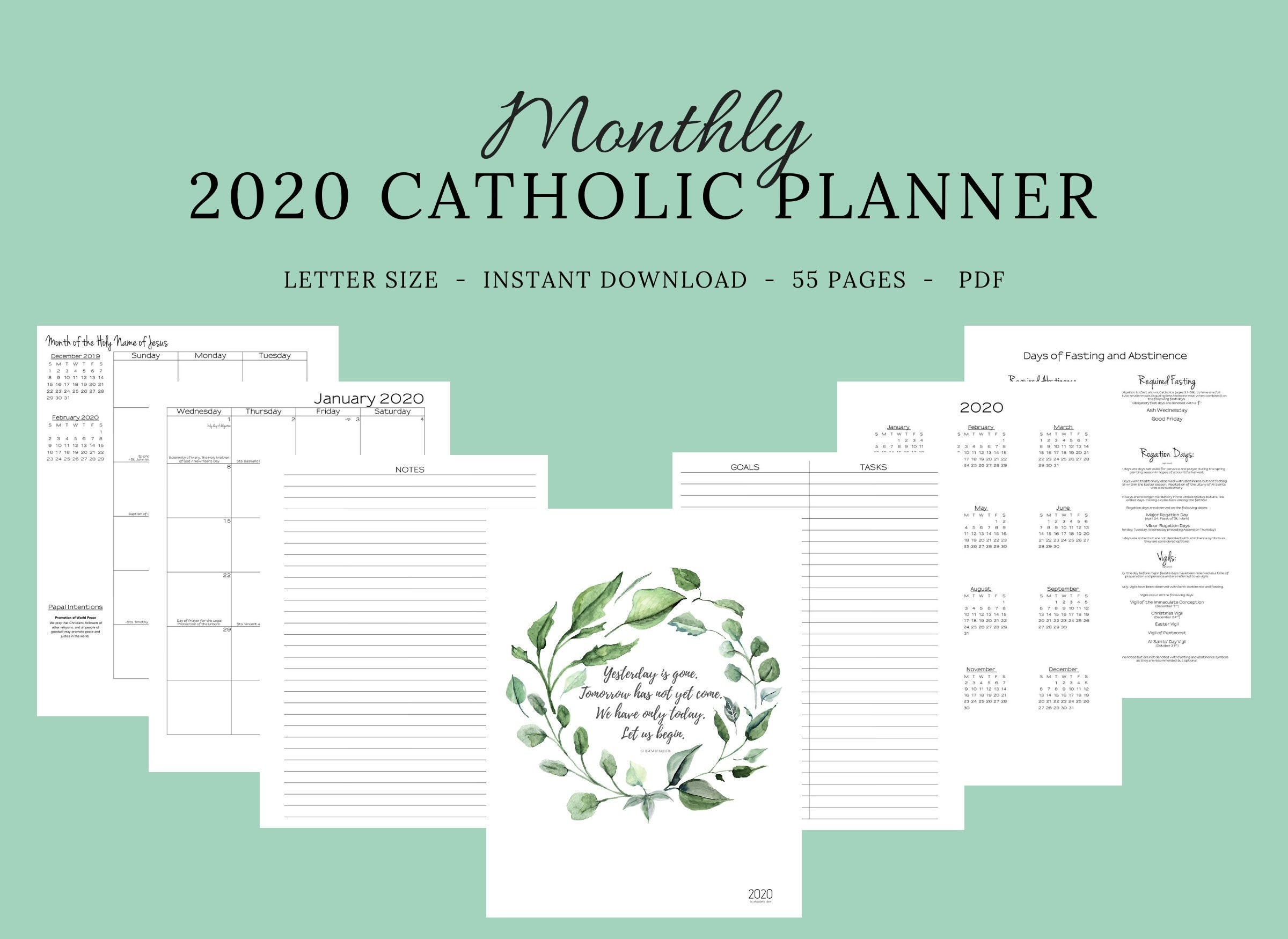 2020 Catholic Planner Monthly Printable: Monthly Planner / Catholic  Liturgical Year Calendar / Printable Catholic Planner / Catholic Woman-2020 Catholic Monthly Calendar Printable