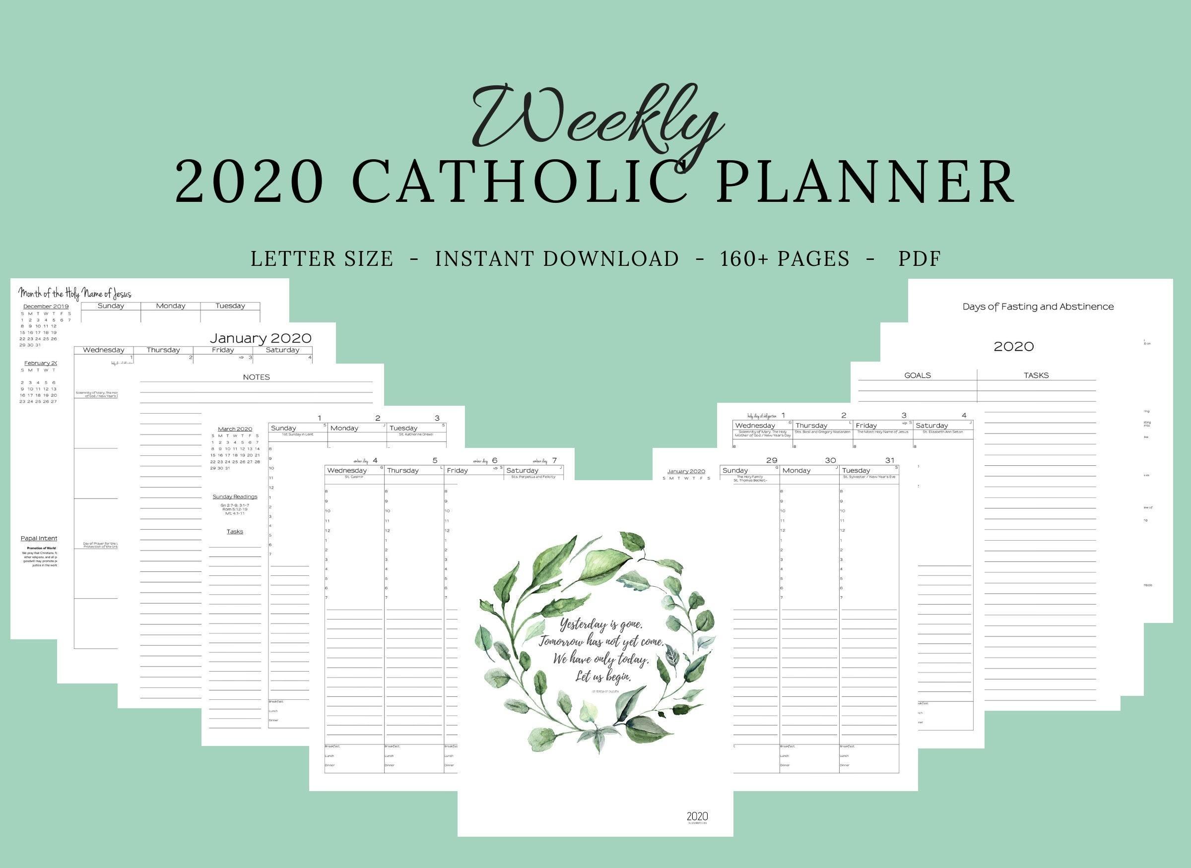 2020 Catholic Planner Weekly Printable: Daily Planner / Weekly Calendar /  Catholic Liturgical Year Calendar / Printable Catholic Planner-2020 Catholic Monthly Calendar Printable
