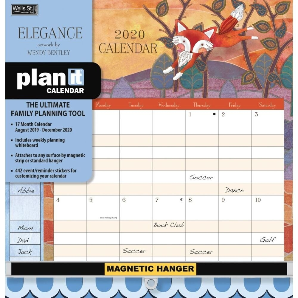 2020 Elegance Plan It Plus Wall Calendar, By Wells Street By Lang-2020 Monthly Calendars With Time Slots