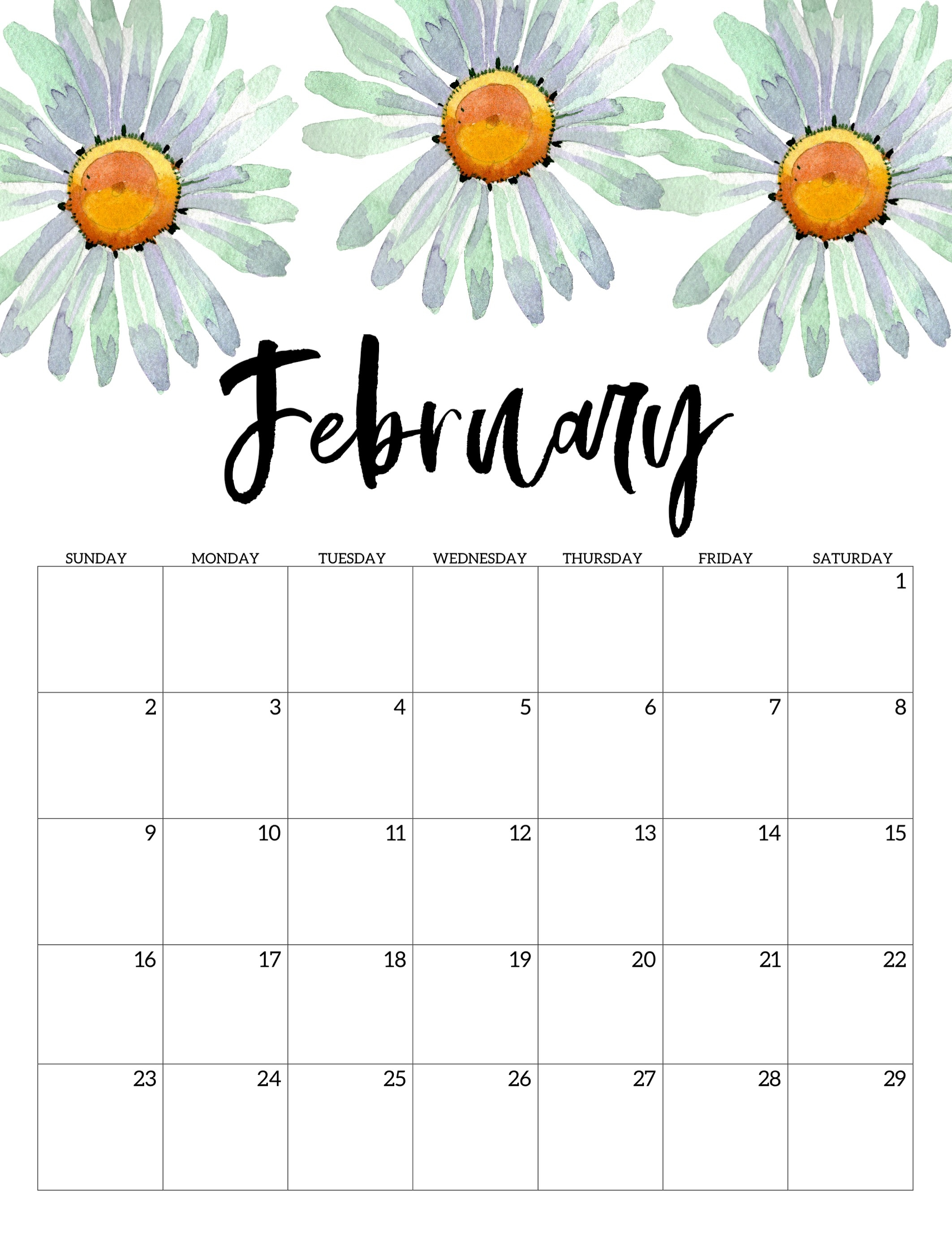 2020 Free Printable Calendar - Floral - Paper Trail Design-January 2020 Calendar Printable Cute