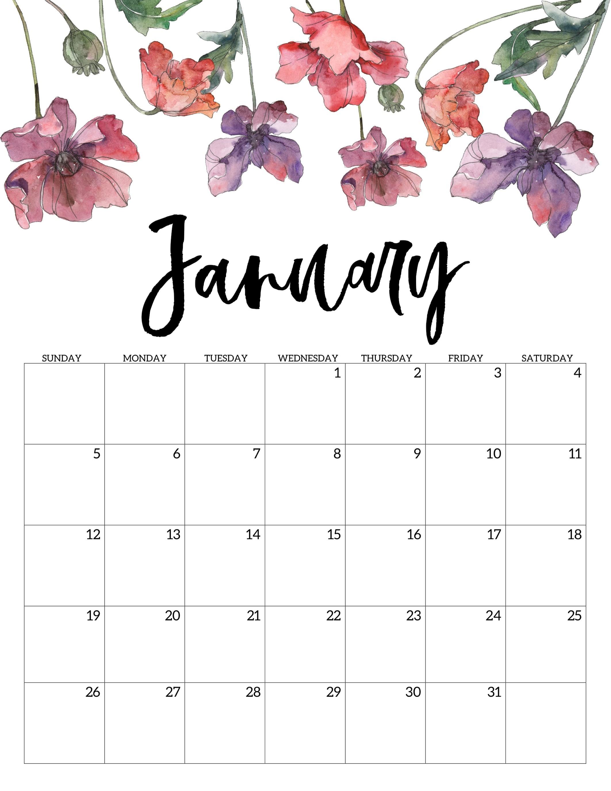 2020 Free Printable Calendar - Floral - Paper Trail Design-Pretty January 2020 Calendar