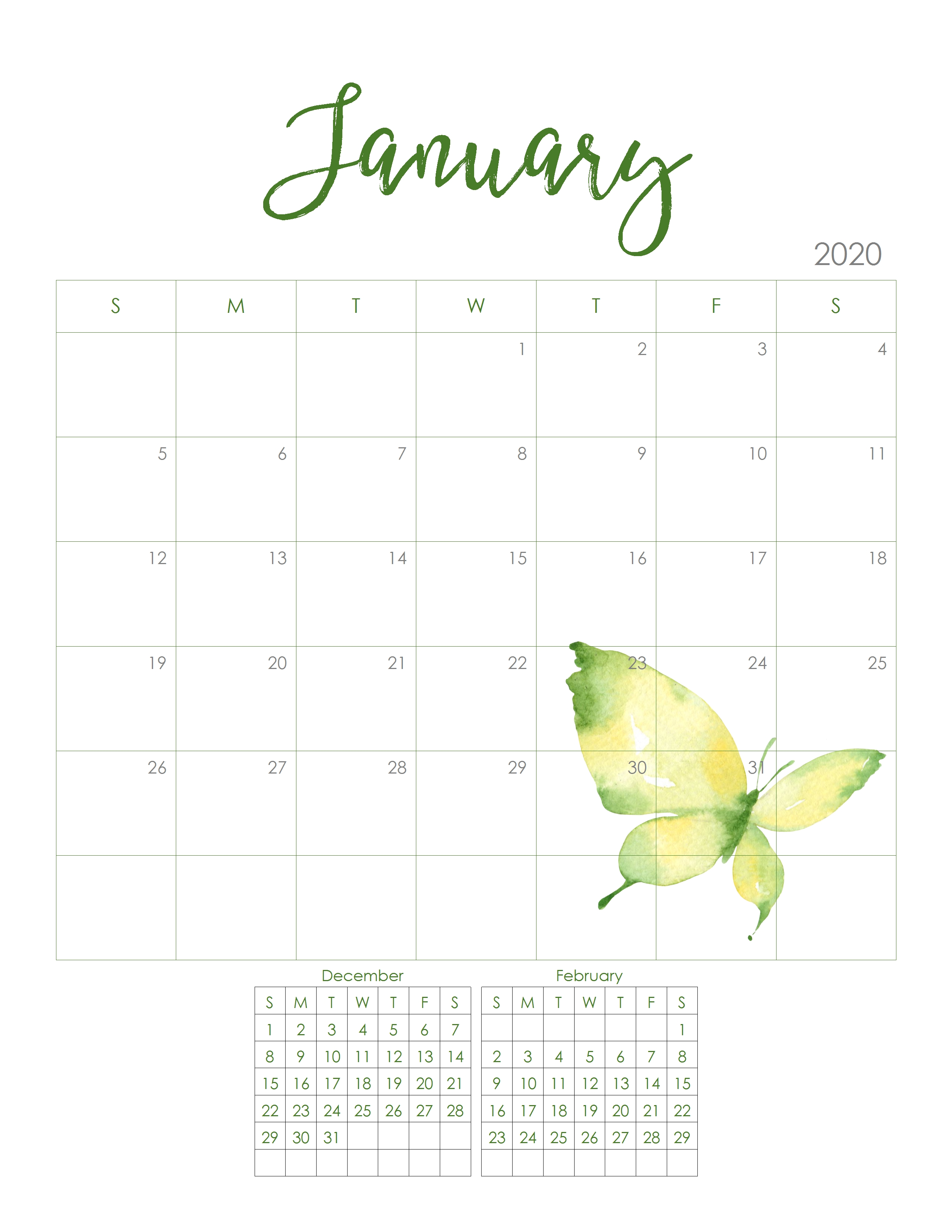 2020 Monthly Calendar-Free Monthly Holiday Themed Calendar Printable 2020-2020