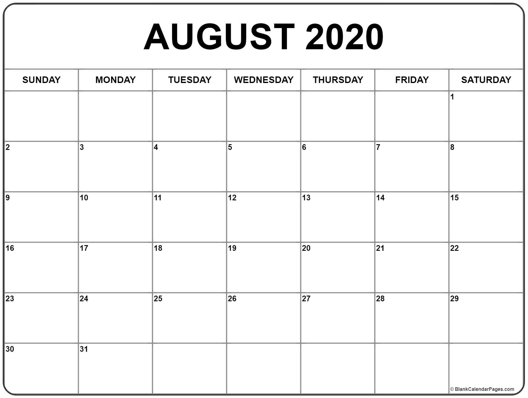 2020 Monthly Calendar Printable (January To December-2020 Monthly Calendar Template August Thru December