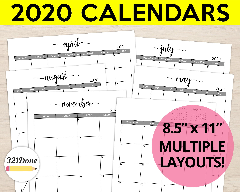 "2020 Monthly Calendars Printable Set Planner Refill Blank Month Calendar  Bundle Template Simple Journal Letter 8.5"" X 11"" Pdf Files-Printable 2020 Blank Calendar On 8 X 11 Size"