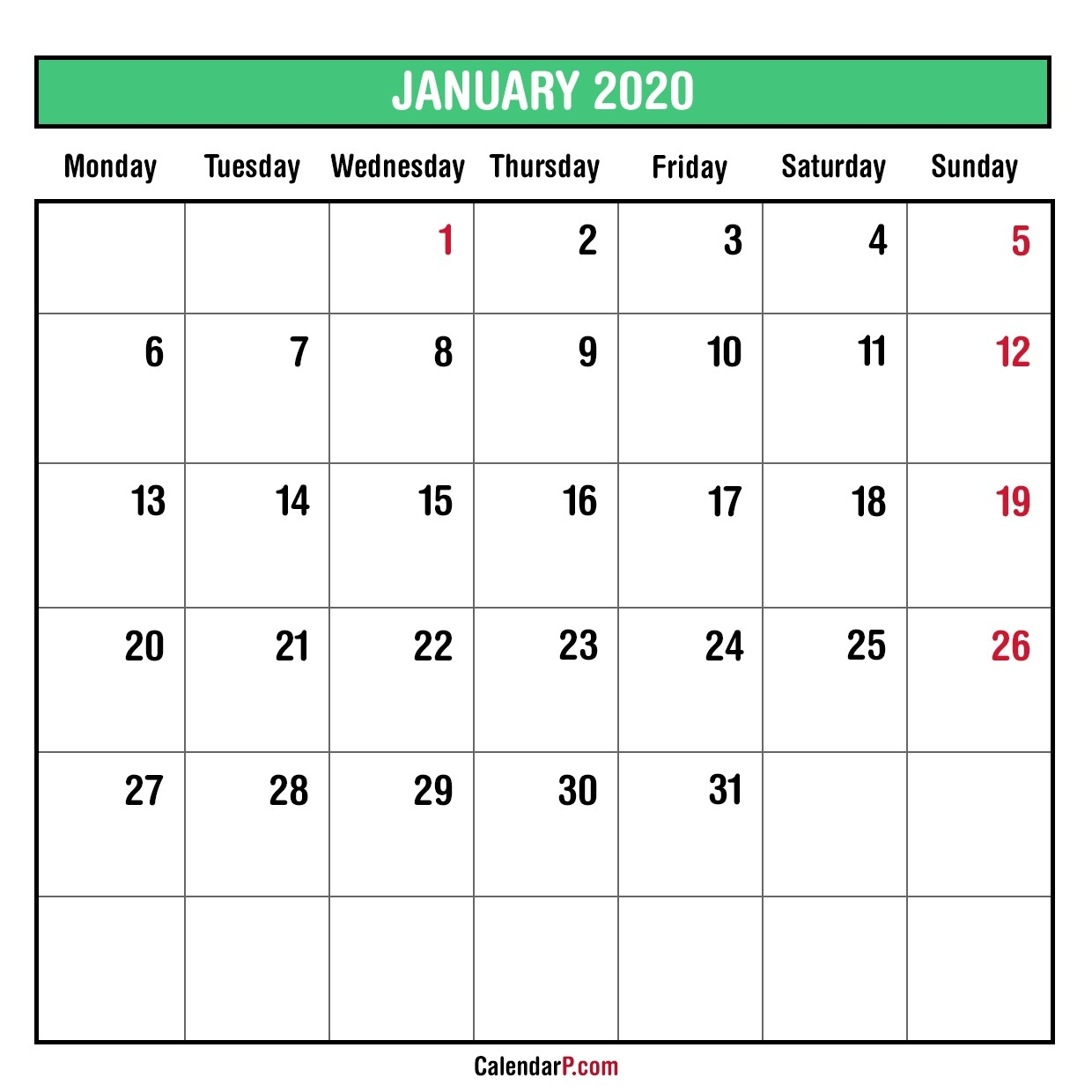 2020 Monthly Planner Printable Free – Monday Start, Green-Printable Calendar 2020 Monthly Monday Start