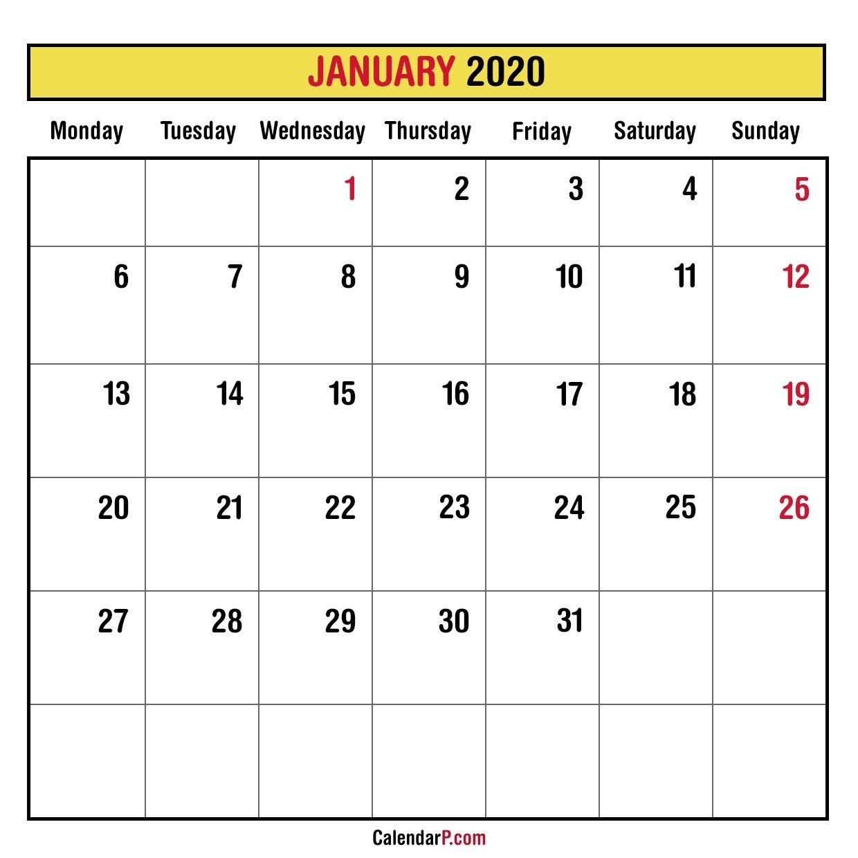 2020 Monthly Planner Printable Free – Monday Start, Yellow-Printable 2020 Monthly Calendar Monday Start