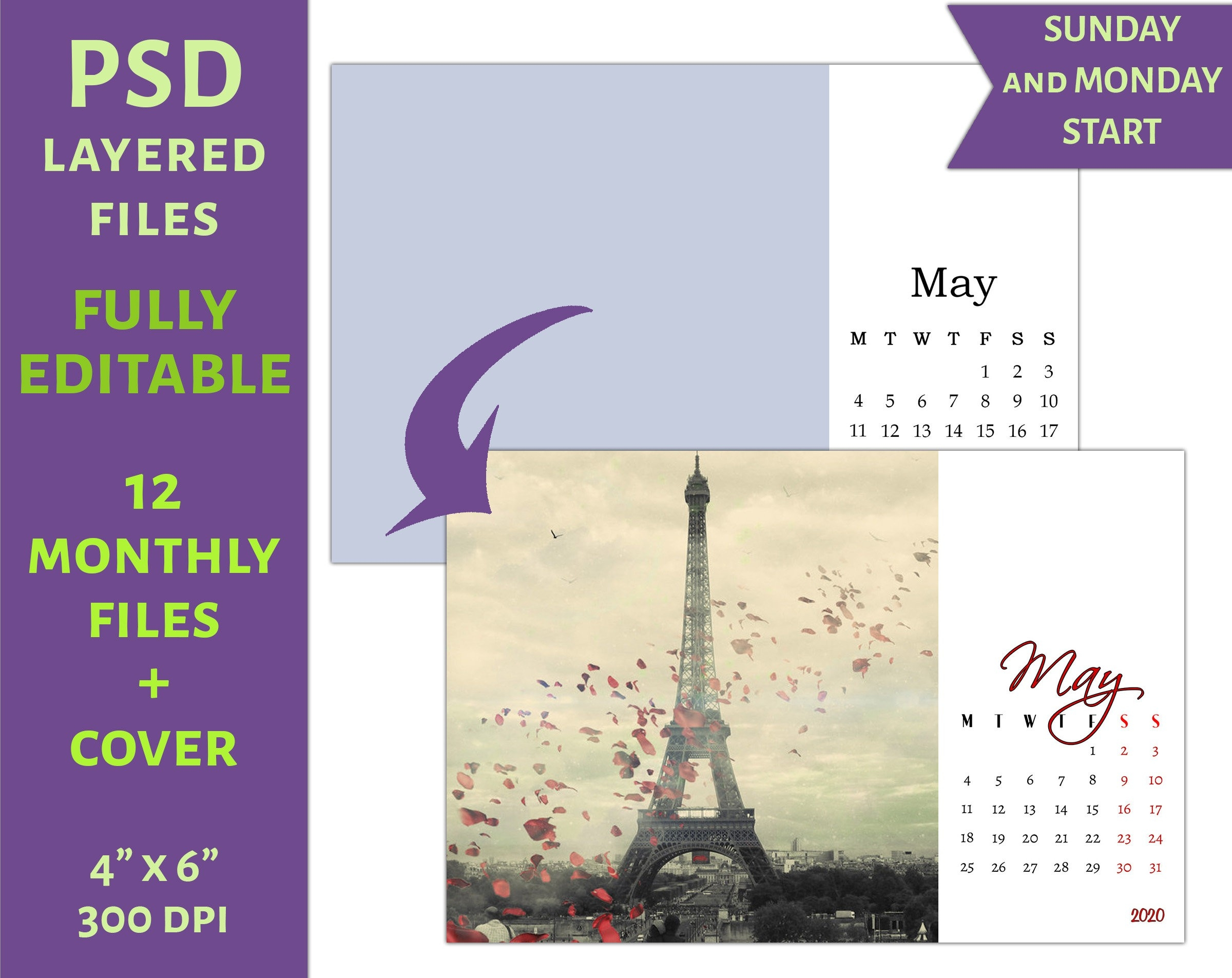 "2020 Monthly Psd Calendar Template 4""x6"" (C16) - Personal Or Commercial Use-Monthly Photo 2020 Calendar Template Printable Psd"