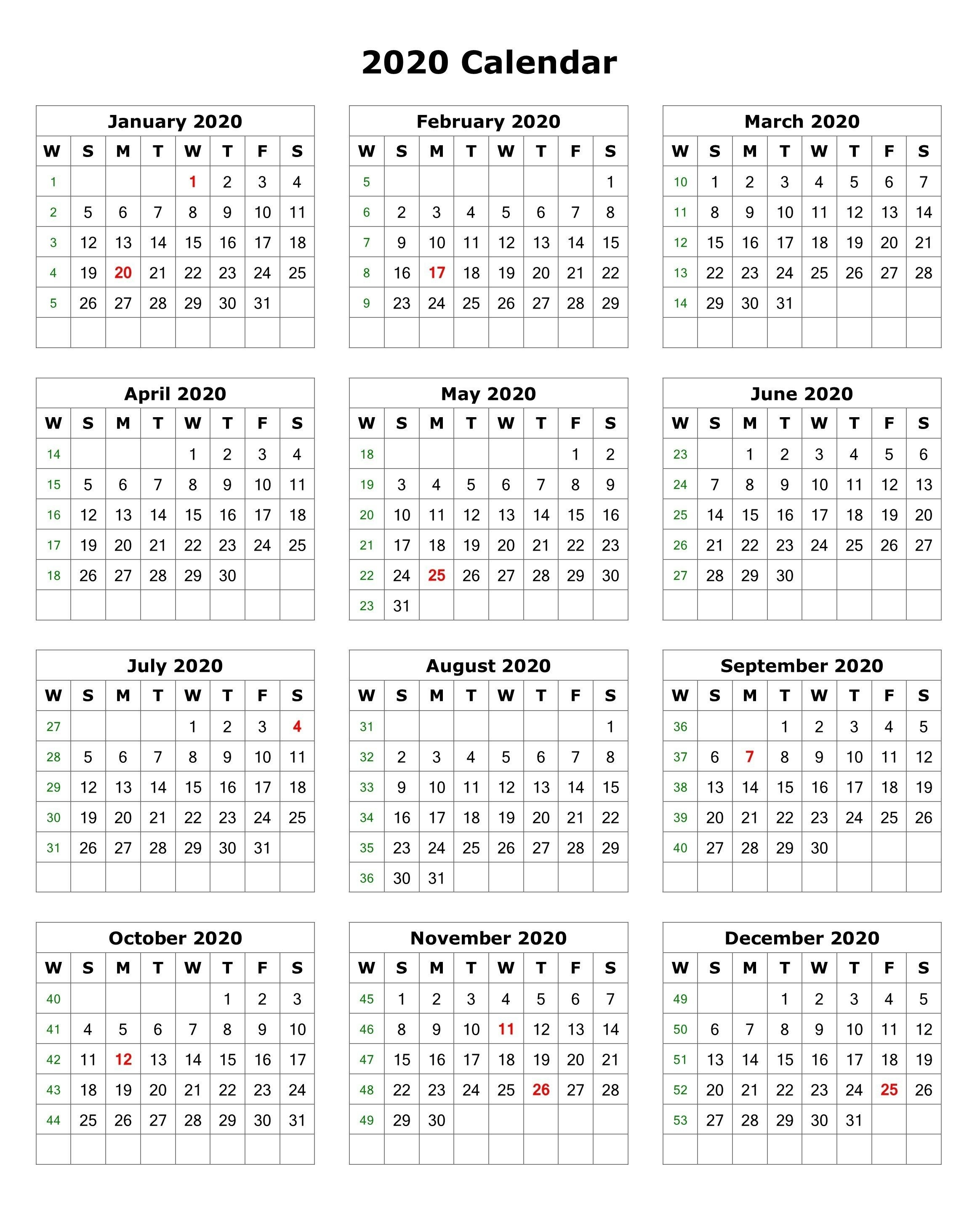 2020 One Page Portrait Calendar | 2020 Calendars | Monthly-6 Month Calendar 2020 Template Free