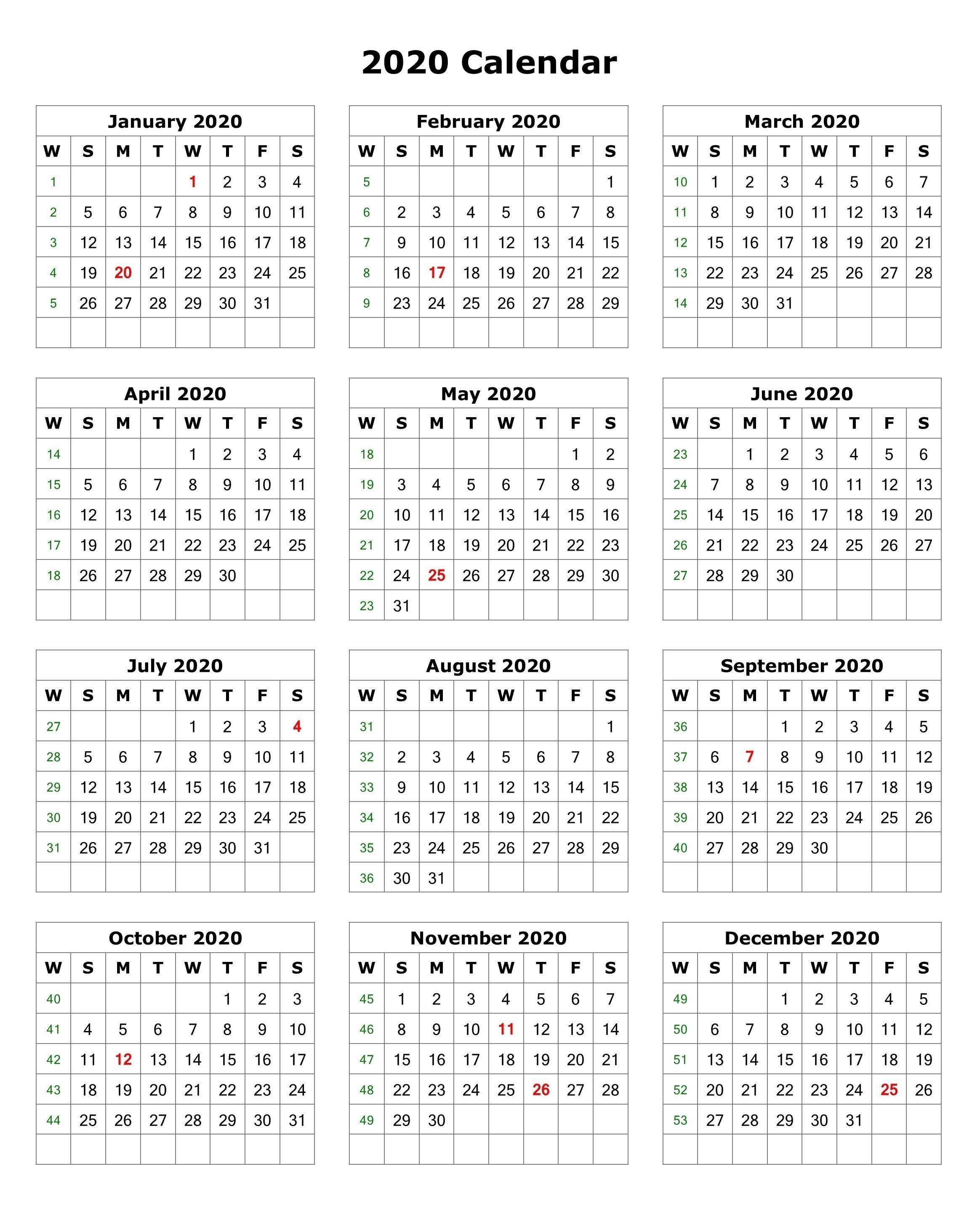 2020 One Page Portrait Calendar | 2020 Calendars | Monthly-6 Month Calendar Template 2020