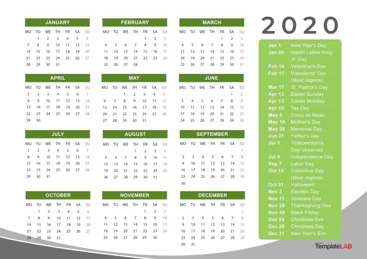 2020 Printable Calendars [Monthly, With Holidays, Yearly] ᐅ-Calendar Labs 2020 Templates