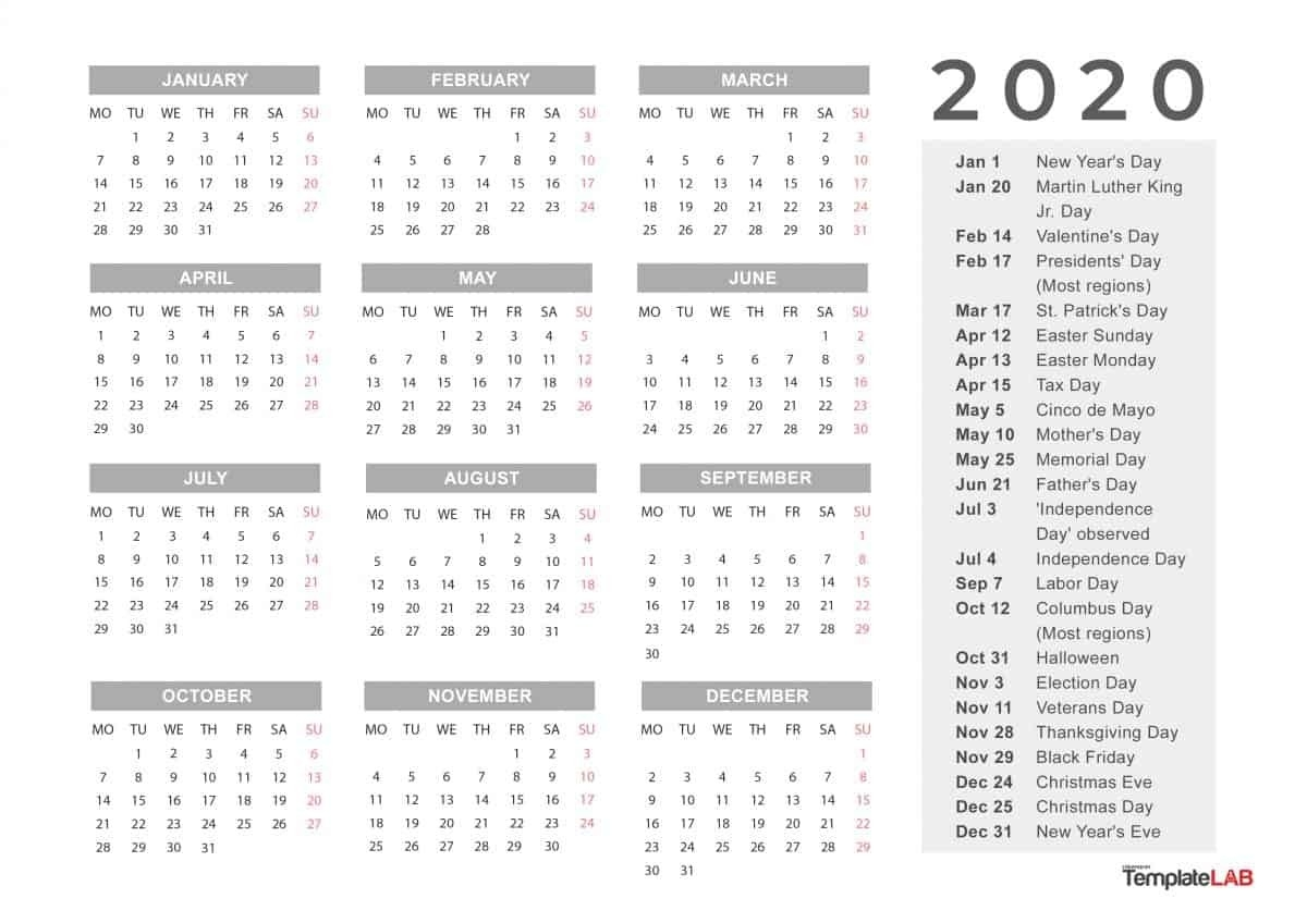 2020 Printable Calendars [Monthly, With Holidays, Yearly] ᐅ-Monthly Calendar 2020 With Holidays Template
