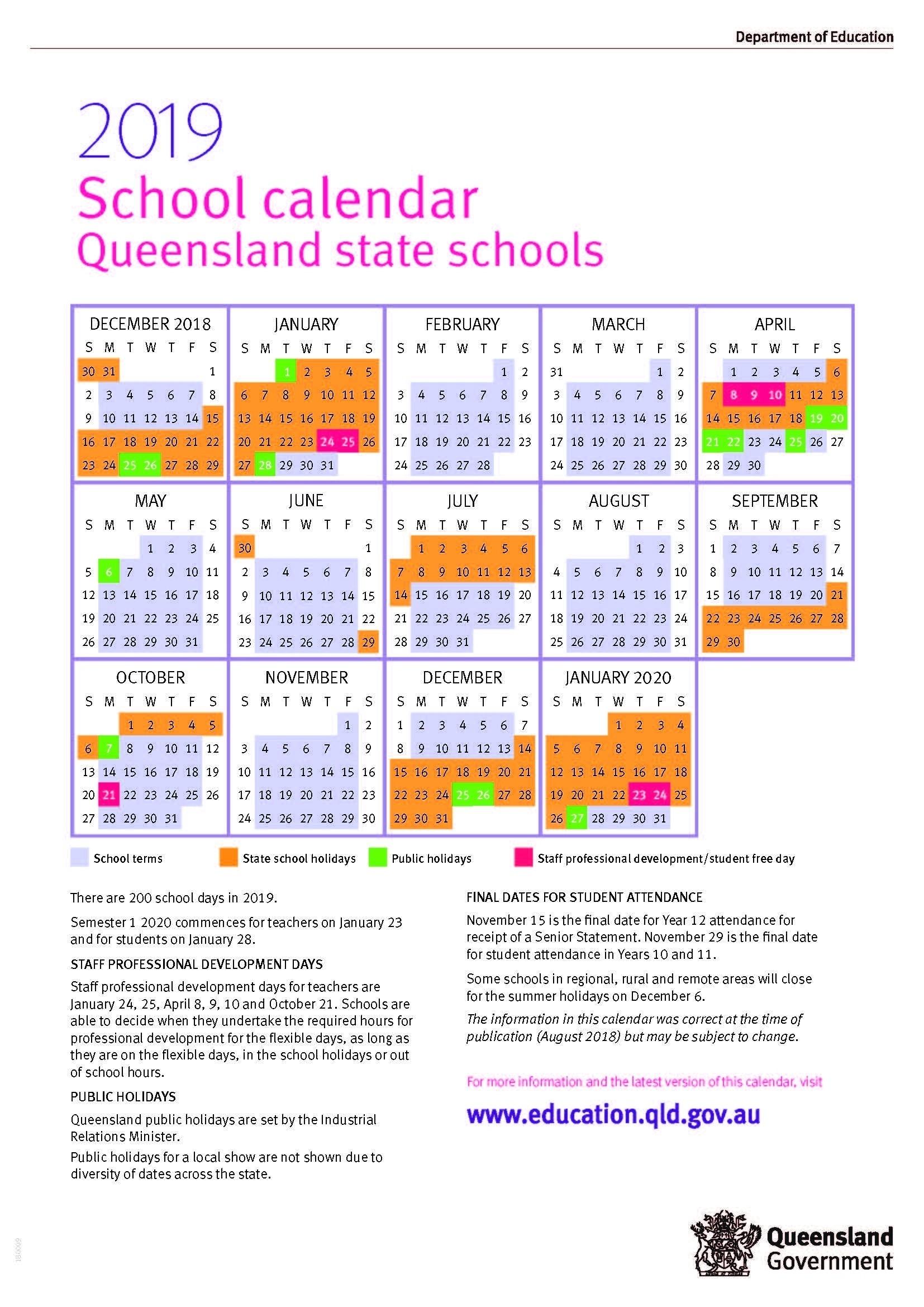 2020 School Calendar Queensland State Schools | Calendar-January 2020 Calendar Qld