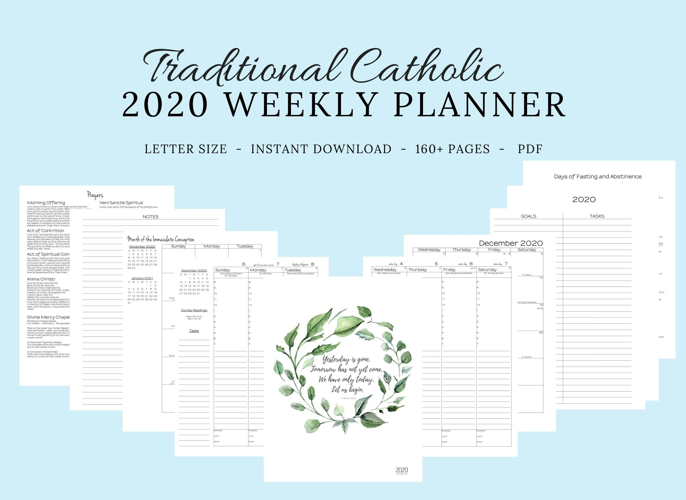 2020 Traditional Latin Catholic Planner Weekly Printable: Latin Mass /  Tridentine Mass / Catholic Calendar / Liturgical Planner-2020 Catholic Monthly Calendar Printable