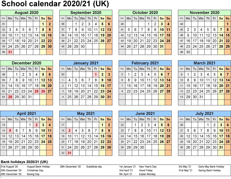 2021 And 2020 School Calendar Printable Free For Class-January 2020 School Calendar
