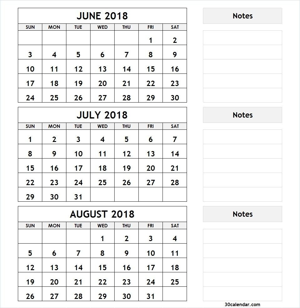 3 Month Calendar June July August 2018 | 2018 Calendar | 3-June July & August Blank Calendar
