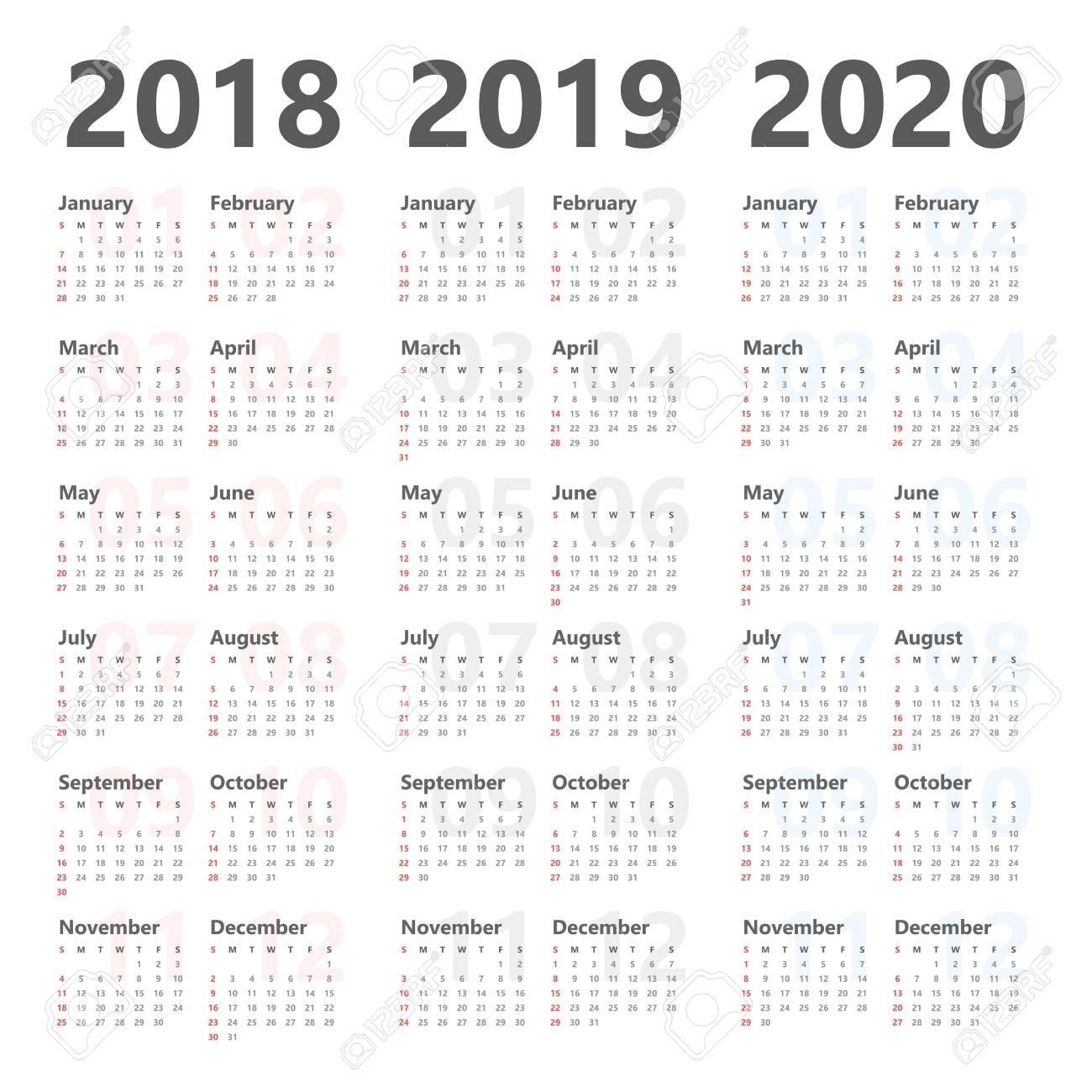 3 Year Calendar Template • Printable Blank Calendar Template-Free Printable 4X6 Calendars 2020 Templates