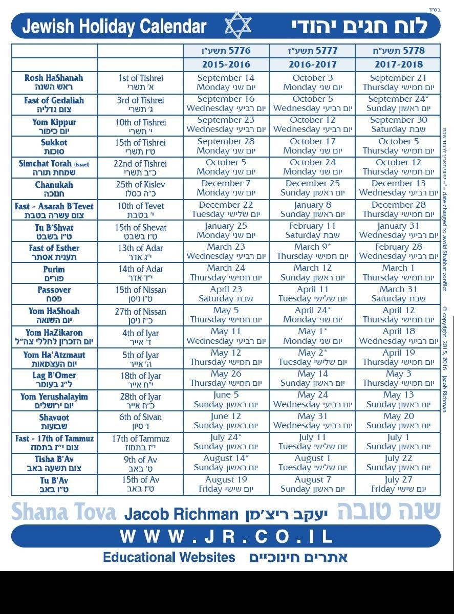 3 Year Jewish Holiday Calendar 5776-5778 / 2015-2018-Gregorian Calendar With Jewish Holidays