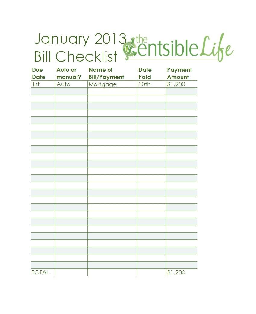 32 Free Bill Pay Checklists & Bill Calendars (Pdf, Word & Excel)-Bill Due Date Calendar Template