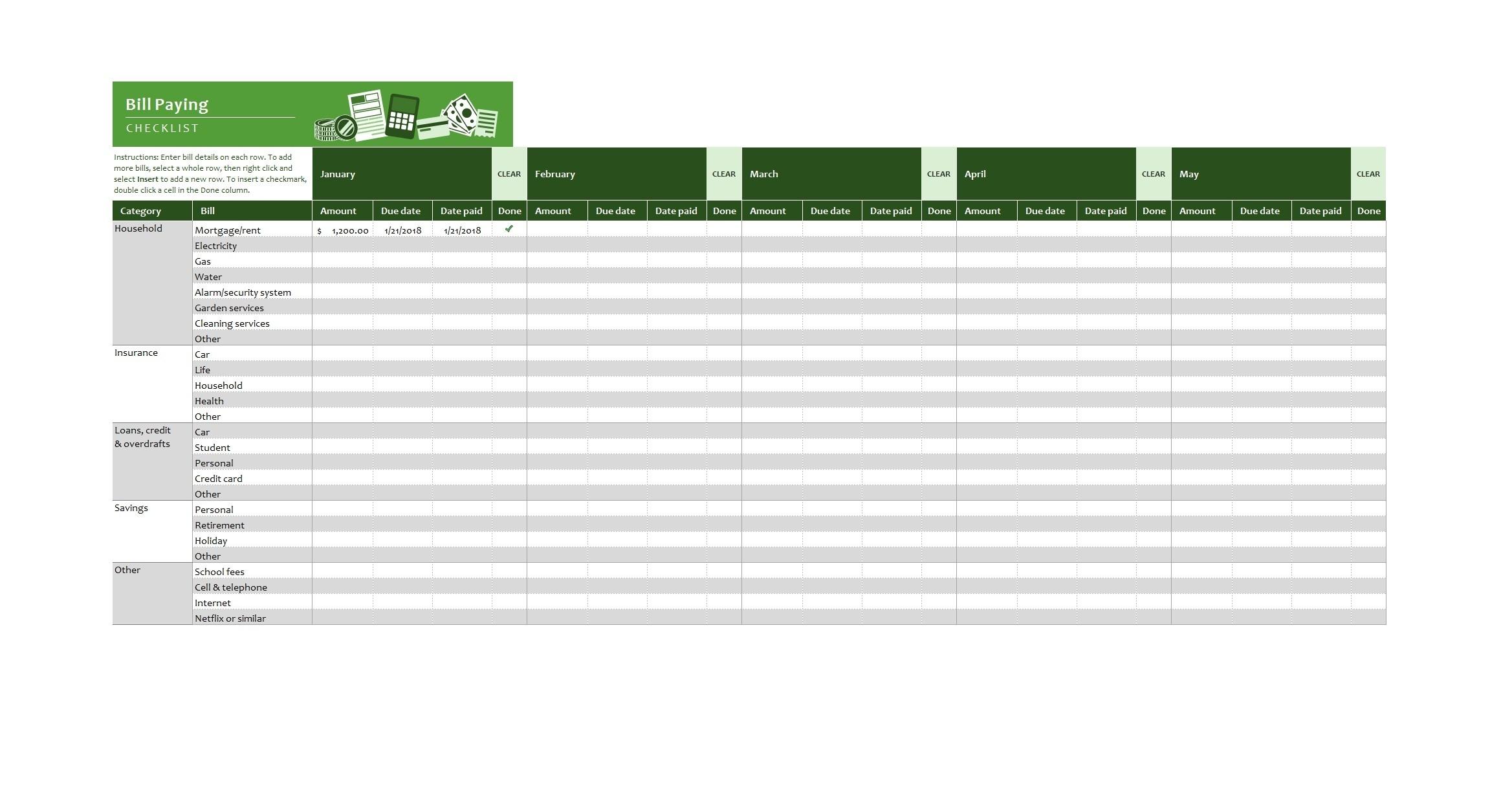 32 Free Bill Pay Checklists & Bill Calendars (Pdf, Word & Excel)-Free Printable Bill Calendar Templates