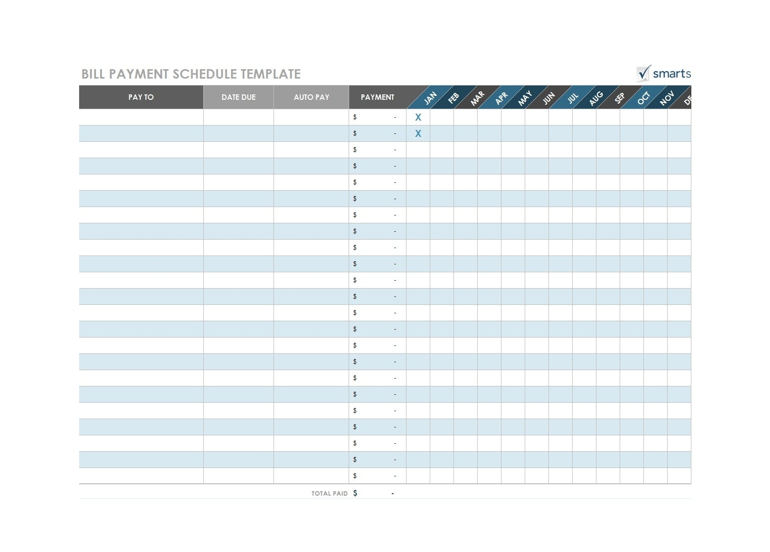 32 Free Bill Pay Checklists & Bill Calendars (Pdf, Word & Excel)-List Of Bills Template