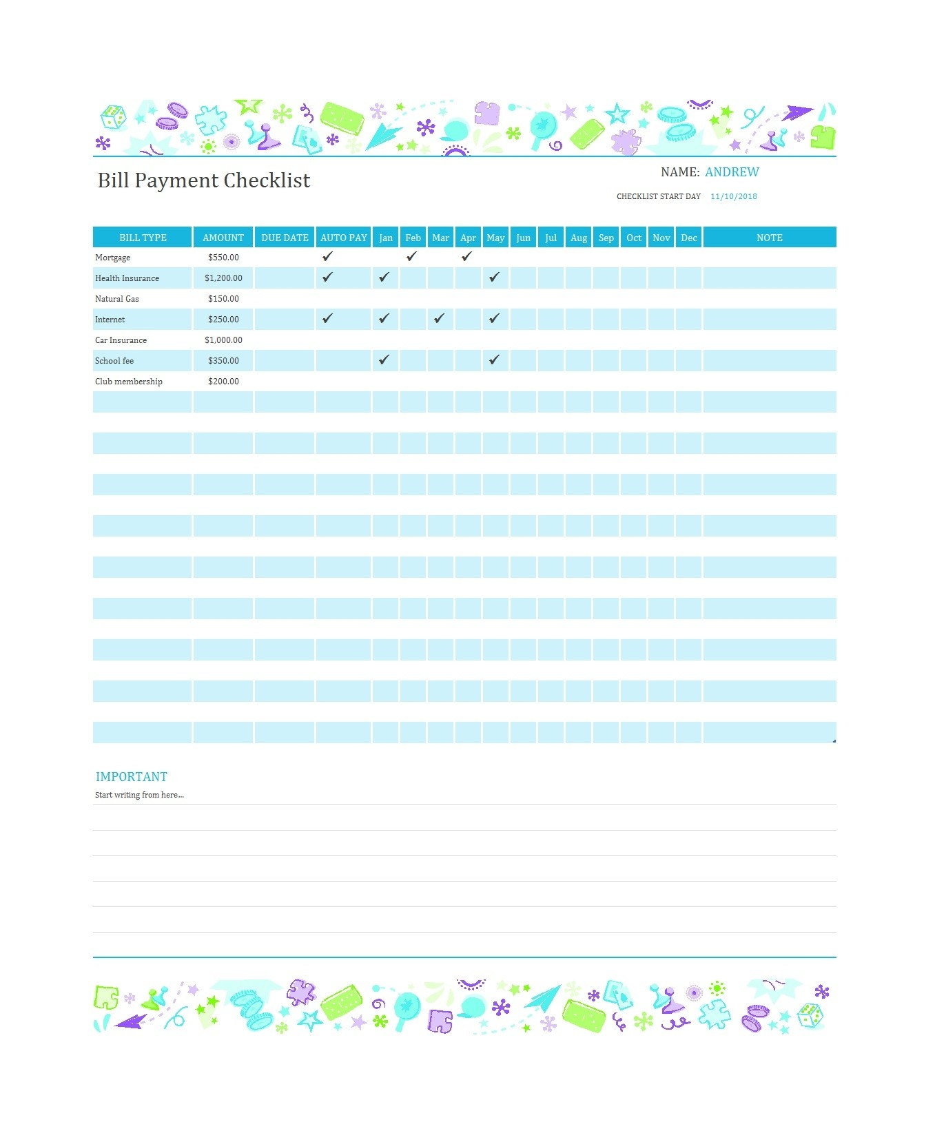 32 Free Bill Pay Checklists & Bill Calendars (Pdf, Word & Excel)-Printable Monthly Bill Calendar
