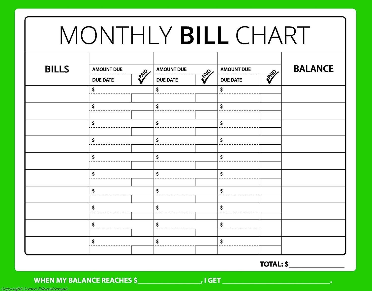 38 Factual Monthly Bill Due Date Chart-Printable Monthly Bill Chart