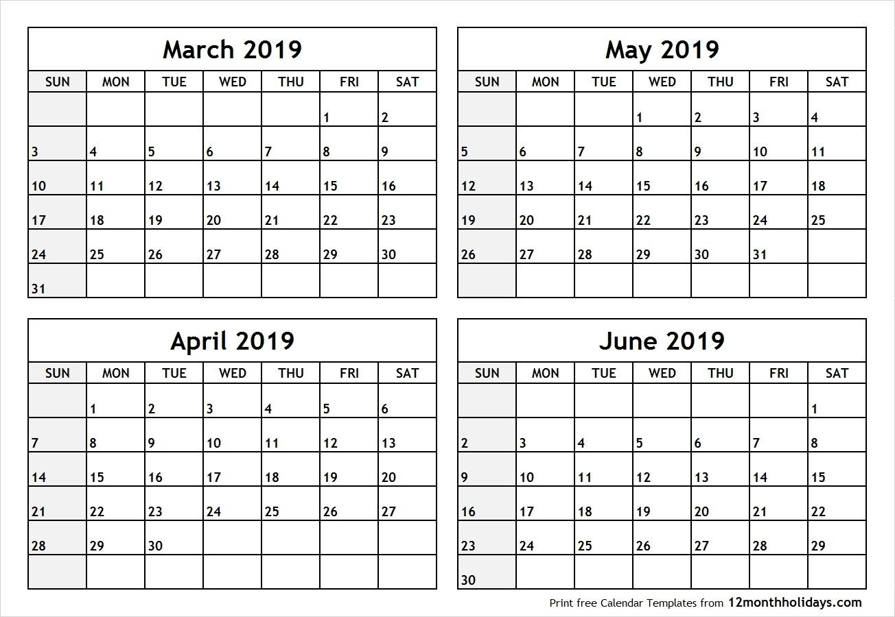 4 Month Blank Calendar 2019 March April May June #april #may-4 Month Blank Calendar