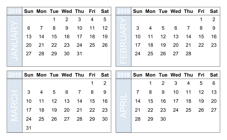 4 Month Blank Calendar Template | Ten Wall Calendar-4 Month Blank Calendar Template