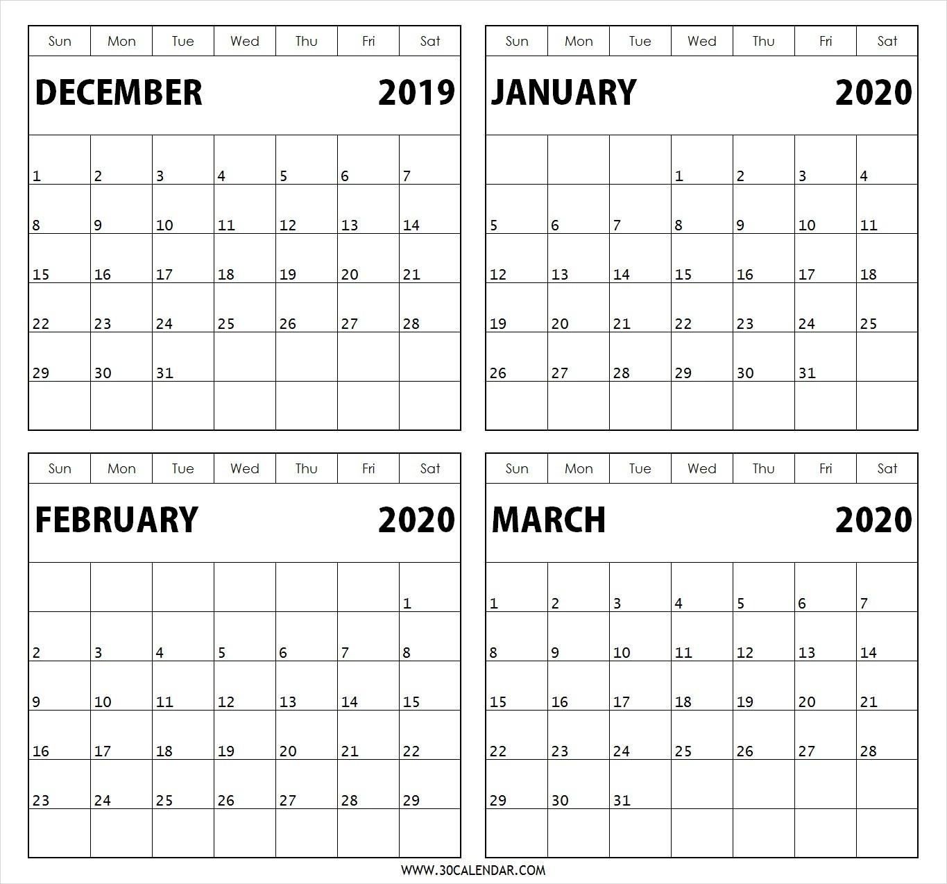4-Month-December-2019-January-February-March-2020-Calendar-January February March 2020 Calendar