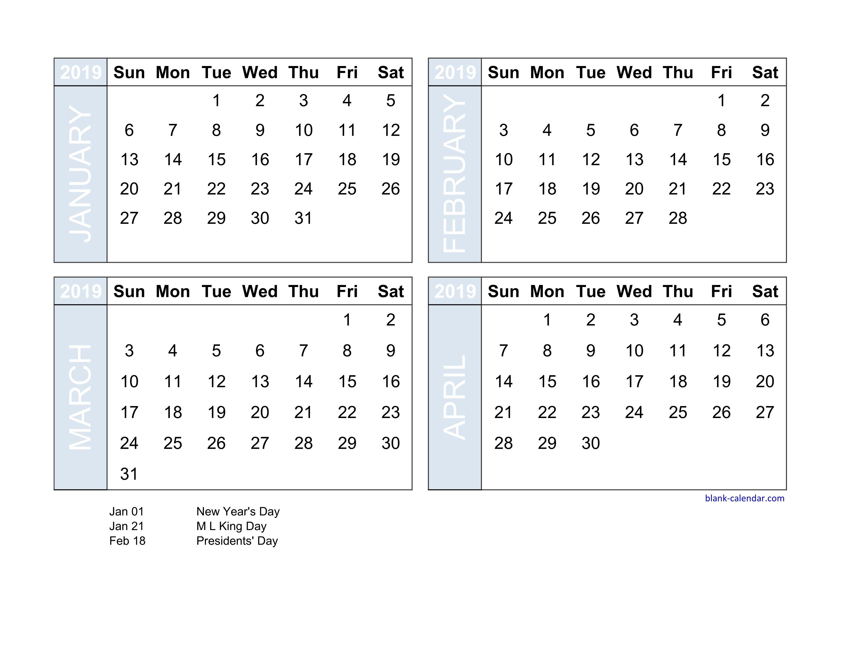 4 Month Printable Calendar 2019 - Parfu.kaptanband.co-Free Calendar Template 4 Months To A Page