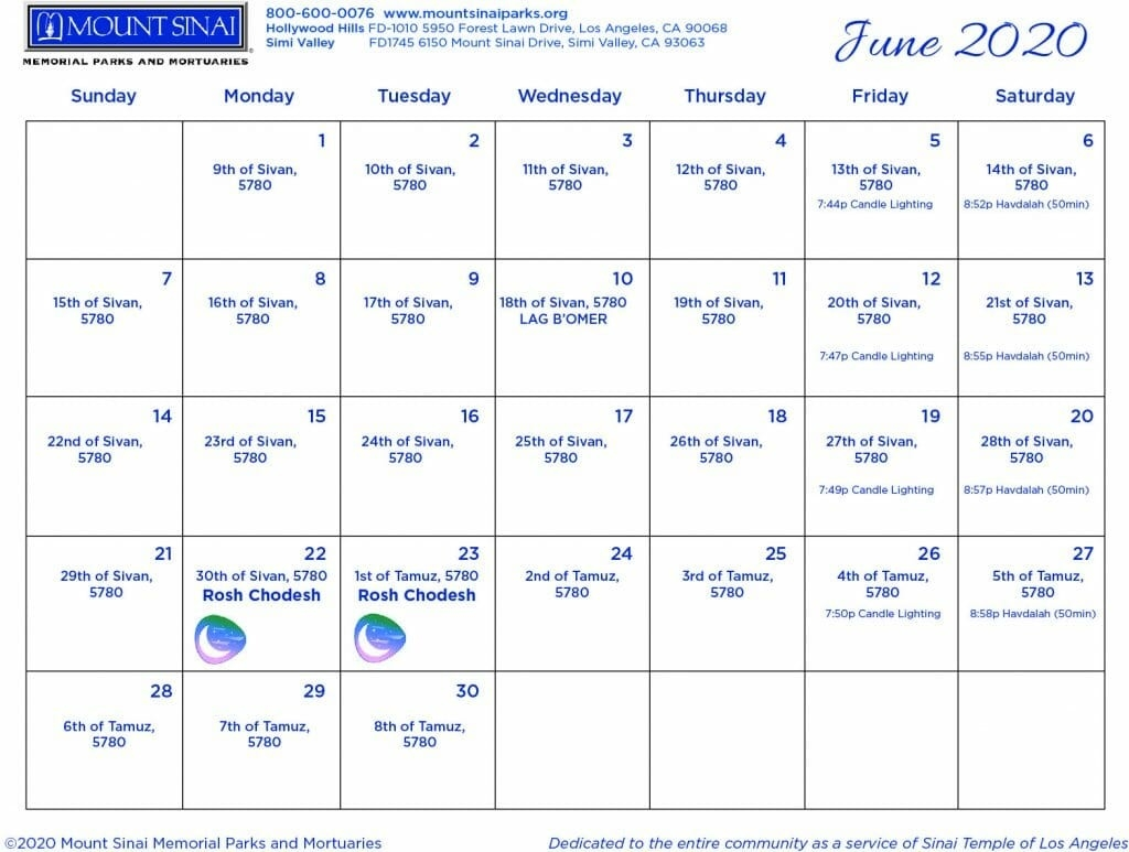 5779 / 5780 Hebrew Calendar - Mount Sinai Memorial Parks And-2020 Jewish Calendar With Holidays
