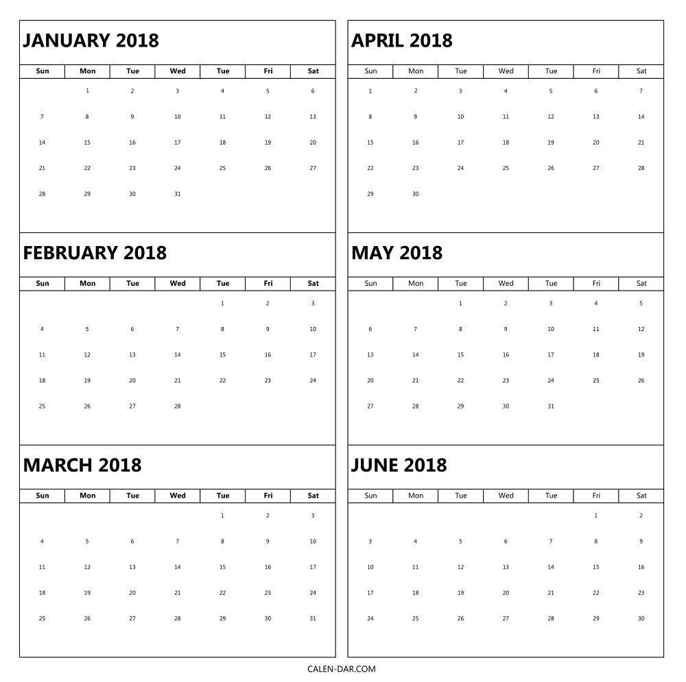 6 Month 2018 Calendar Printable | 2018 Calendars | 2018-Six Month Calendar Template