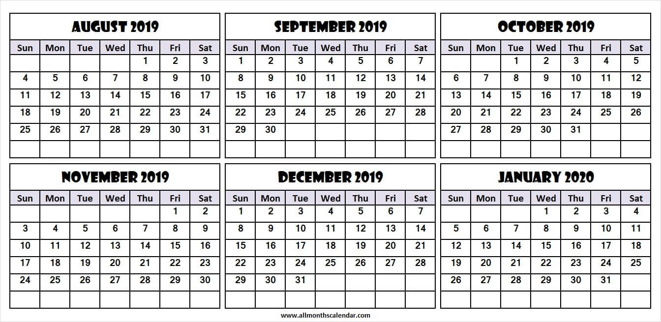 6 Month Calendar August 2019 To January 2020 | Download 2019-2020 Six Month Calendar Template
