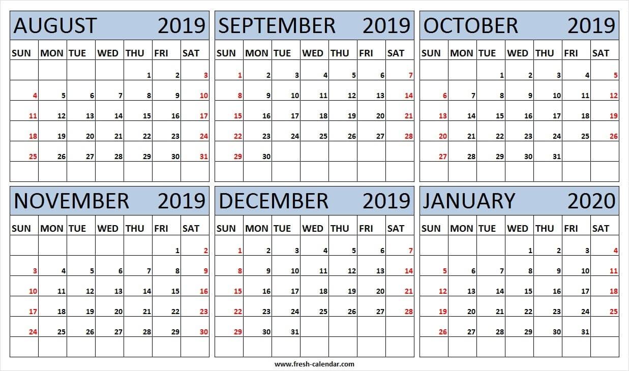 6 Month Calendar August 2019 To January 2020 Free | 2019-2020 Six Month Calendar Template
