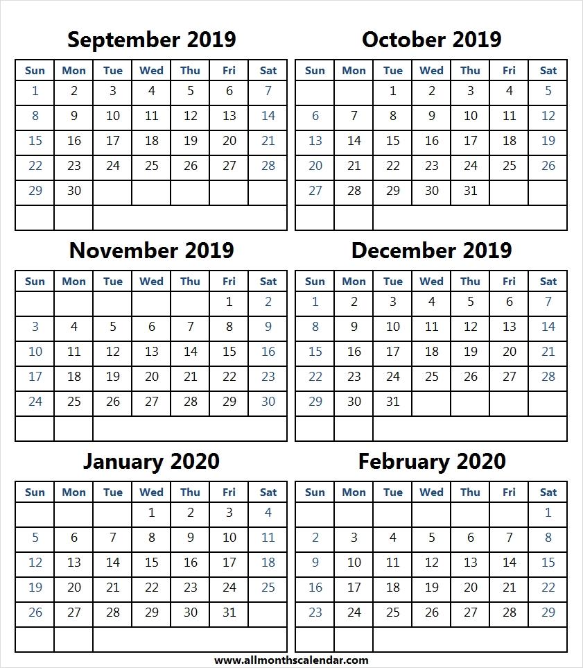 6 Month Calendar September 2019 To February 2020 | Month-2020 Six Month Calendar Template