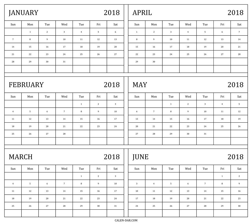 6 Month Calendar Template 2018 2 Within Six Month Calendar-Six Month Calendar Template