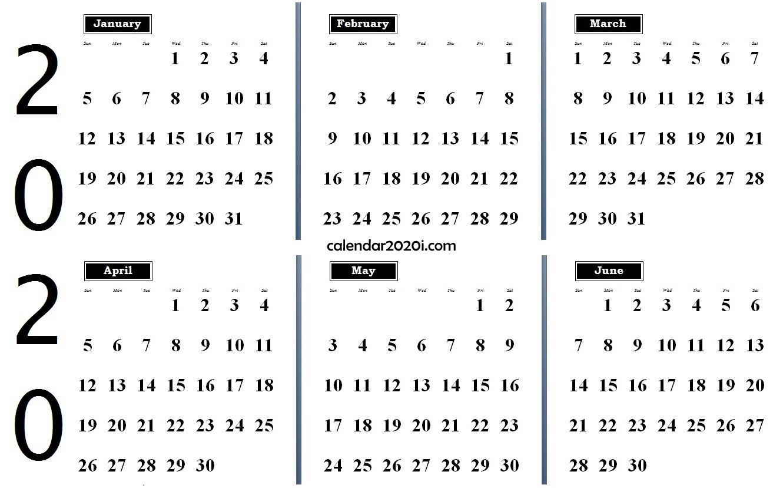6 Months 2020 Half Year Printable Calendar | Calendar 2020-6 Month Blank Calendar 2020