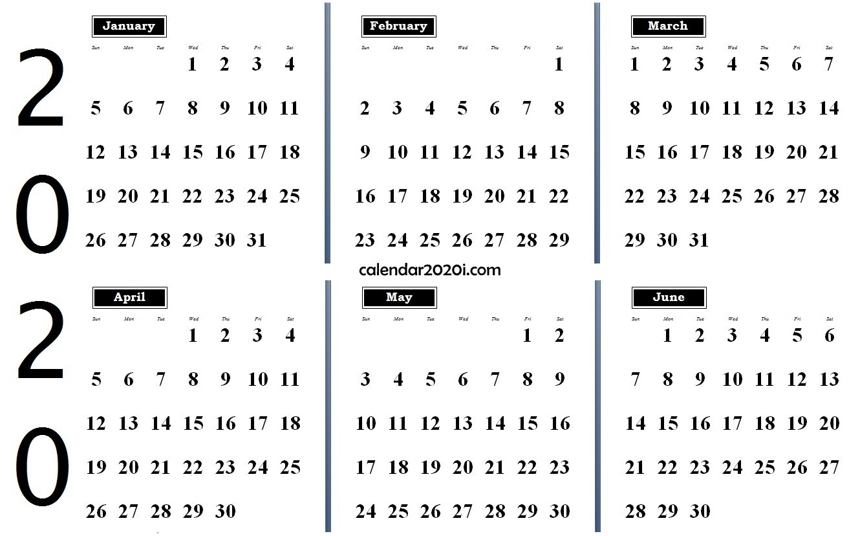 6 Months 2020 Half Year Printable Calendar | Calendar 2020-January 2020 Style 3 Calendar